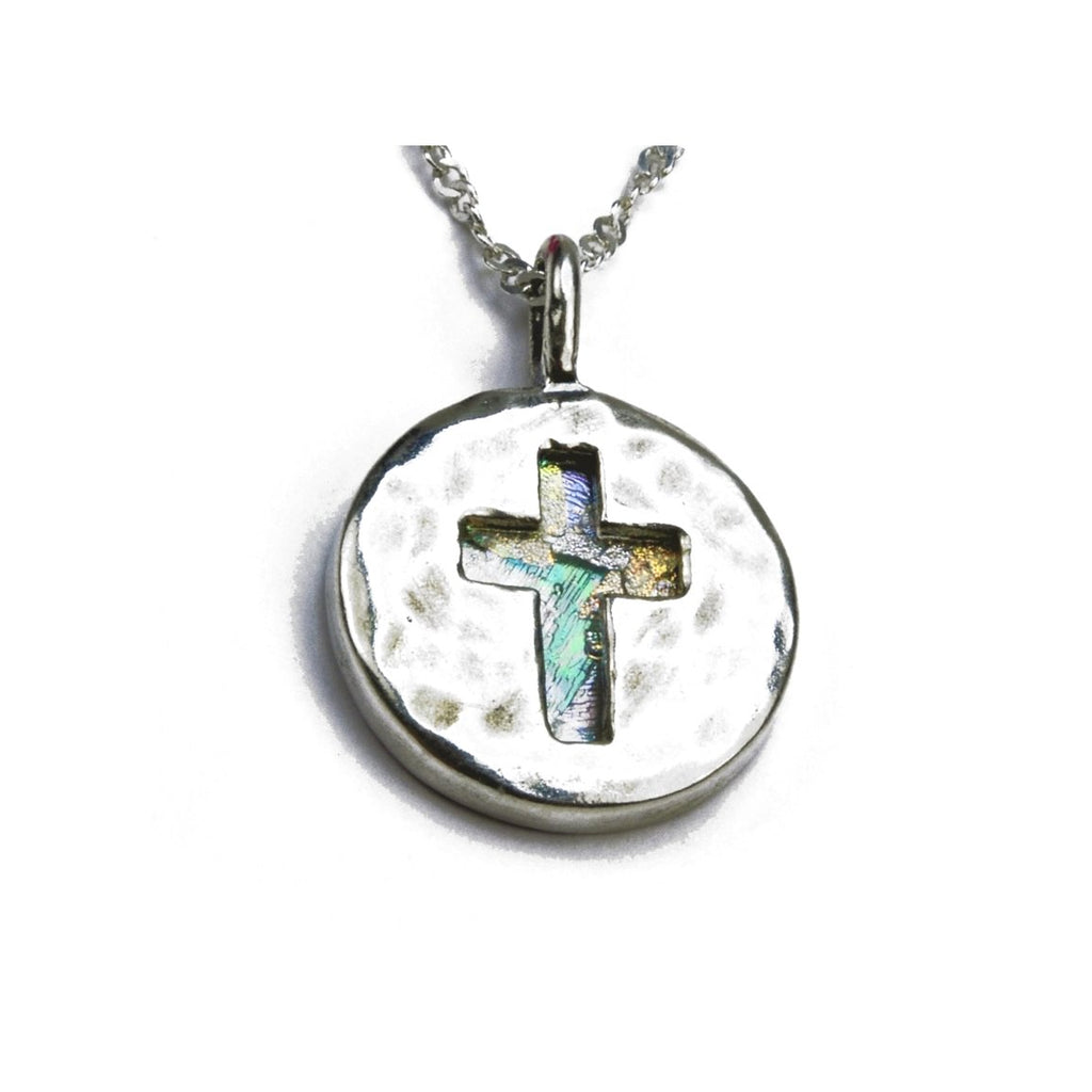 Ancient Roman Glass Necklace with Cut Out Cross Sterling Silver