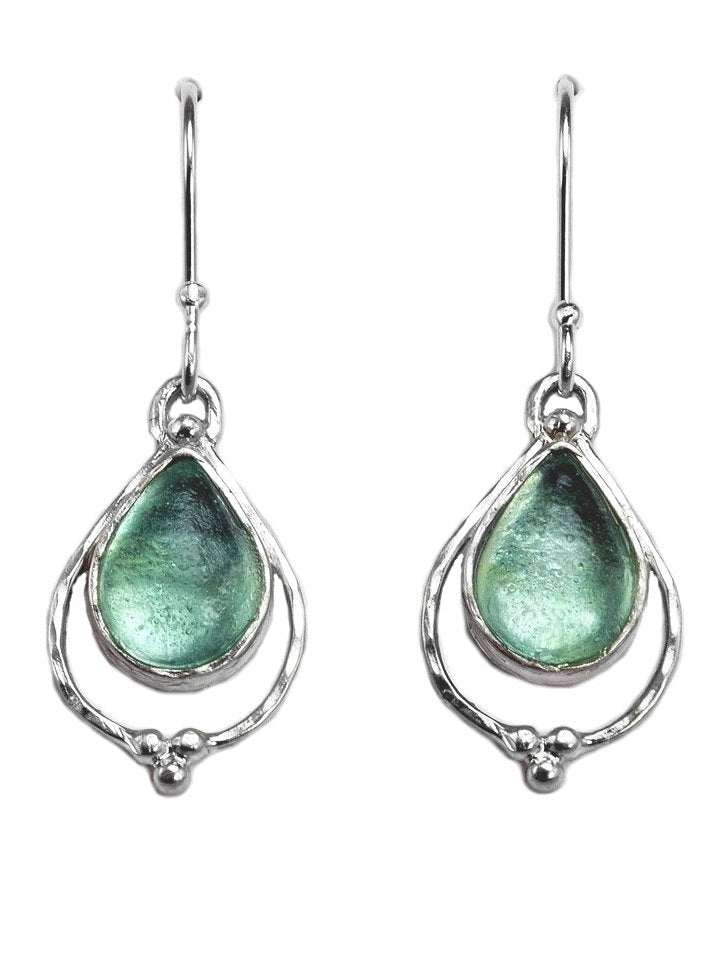 Ancient Roman Glass Earrings Dangle Teardrop Sterling Silver