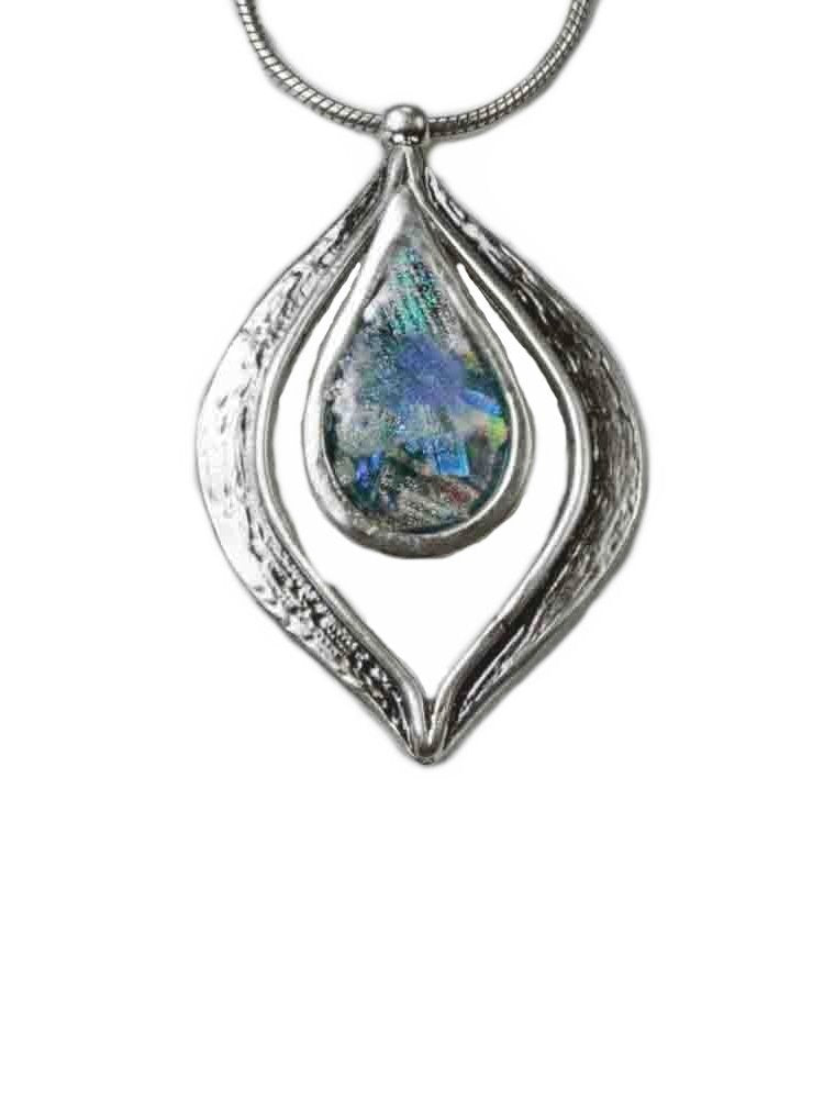 Ancient Roman Glass Necklace Marquise with Teardrop Center Sterling Silver Snake