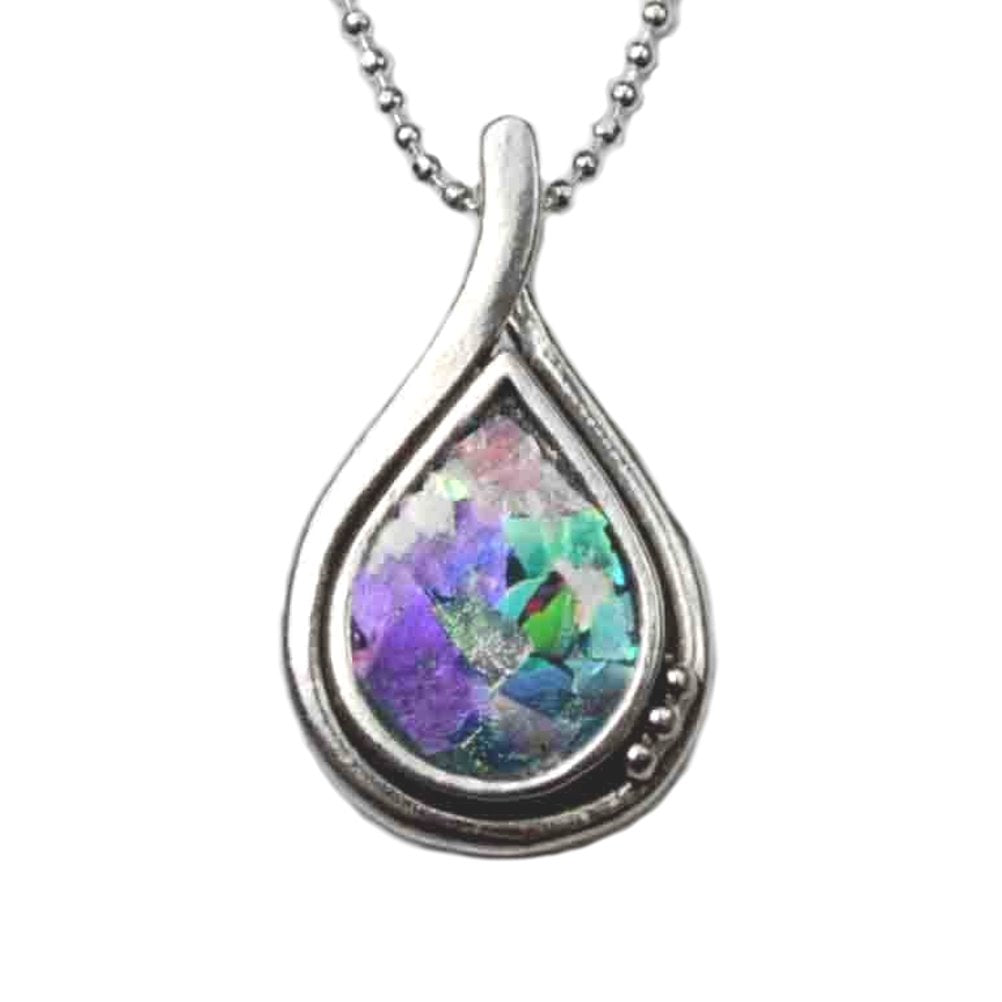 Ancient Roman Glass Necklace Teardrop Shape Sterling Silver with Bead Chain
