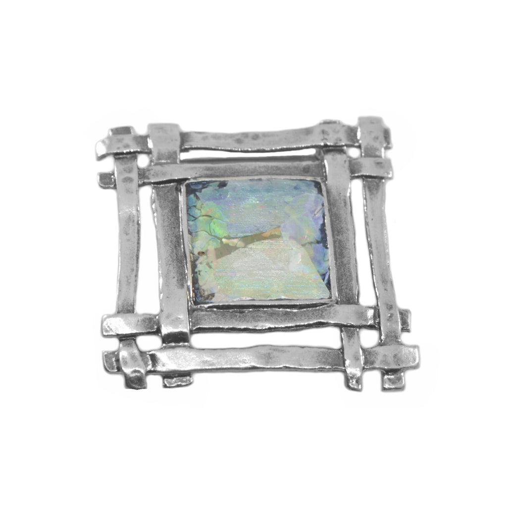 Ancient Roman Glass Multicolor Pin or Pendant Square Weave Sterling Silver