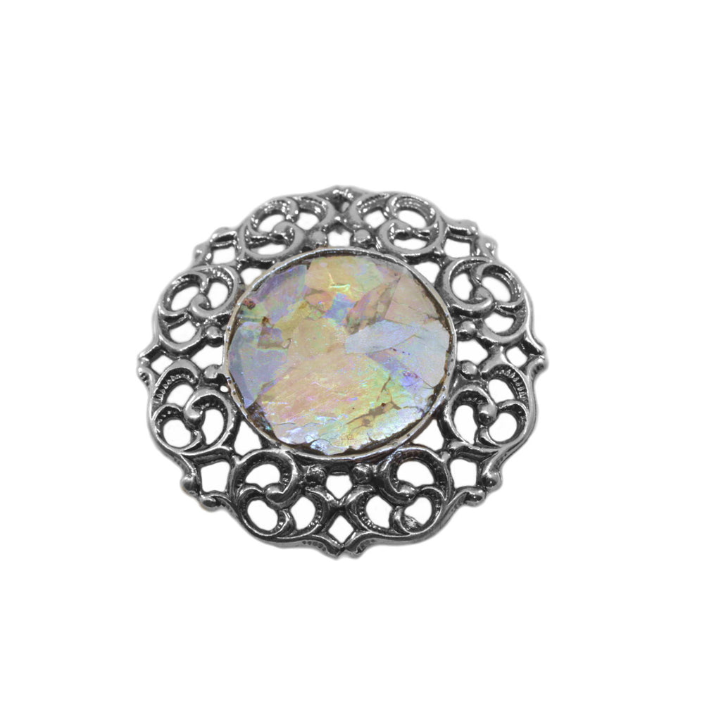 Ancient Roman Glass Pin or Pendant Filigree Multicolor Sterling Silver