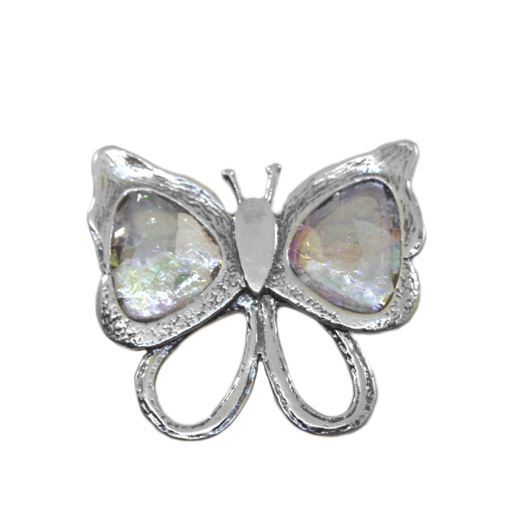 Ancient Roman Glass Multicolor Butterfly Pin or Pendant Sterling Silver