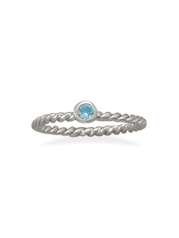 Stackable March Ring Rhodium on Sterling Silver Rope Band