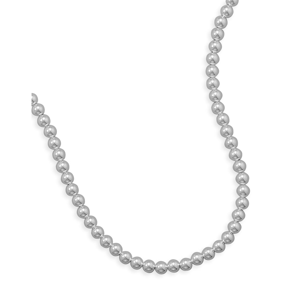 Sterling Silver Bead Necklace 8mm Width Made in the USA