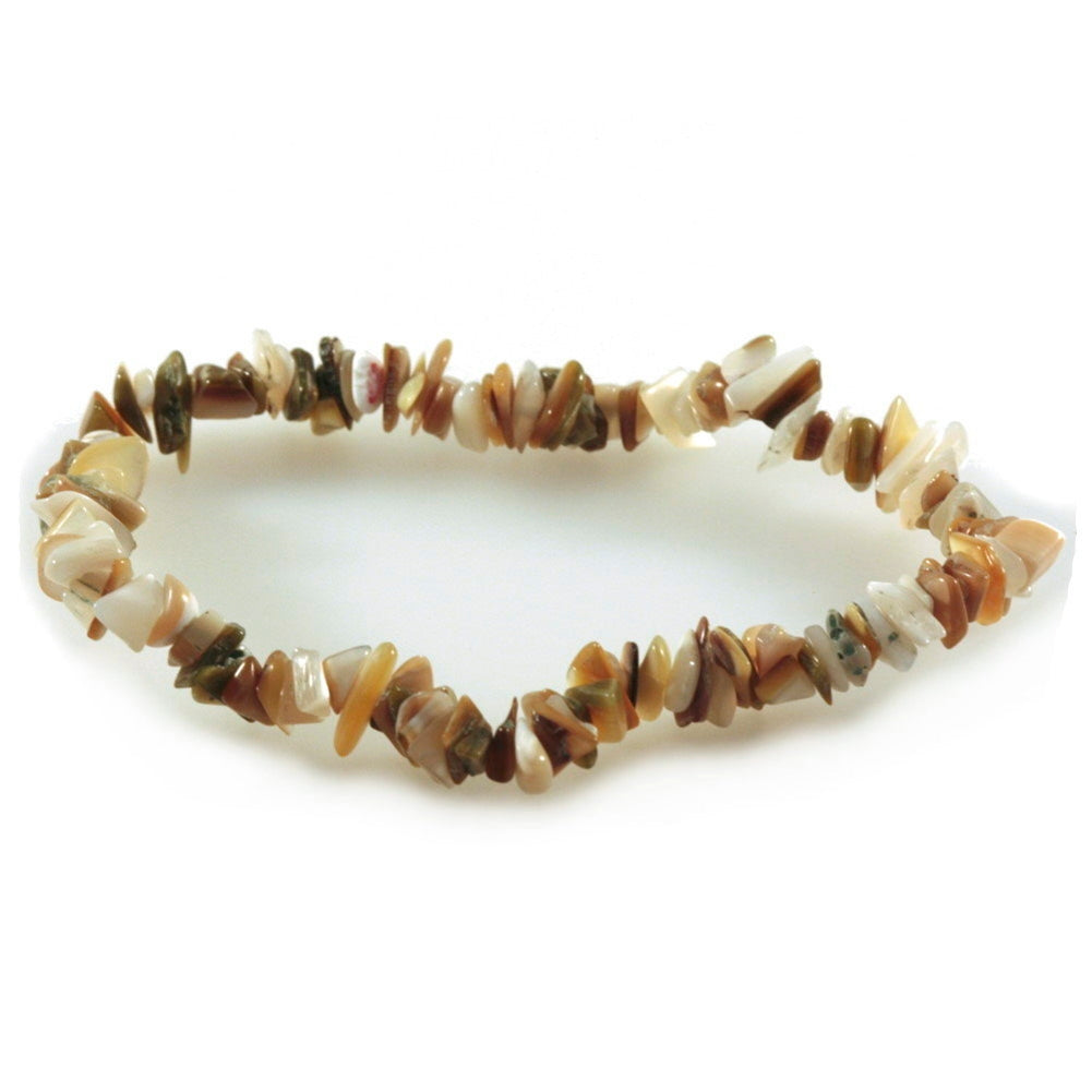 Mother of Pearl Stretch Chip Bracelet Brown Tan and Cream Colors - Fair Trade