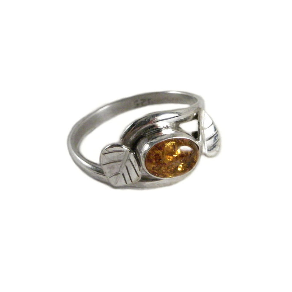 Baltic Amber Leaf Vine Wrap Style Ring Sterling Silver Fair Trade