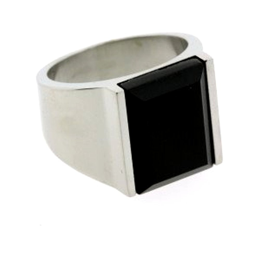 AzureBella Jewelry Black Onyx Mens Ring Faceted Rectangle Stainless Steel, size 8