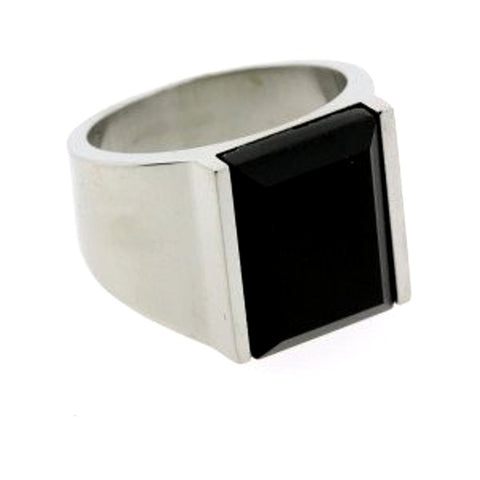 Black Onyx Mens Ring Faceted Rectangle Stainless Steel, size 8