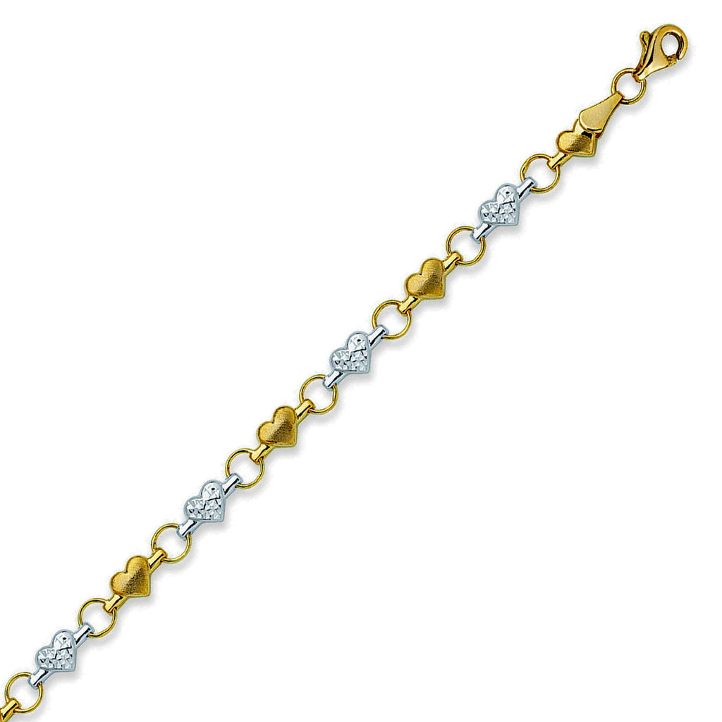 14k Two-tone Gold Anklet Ankle Bracelet Stampato Heart Links