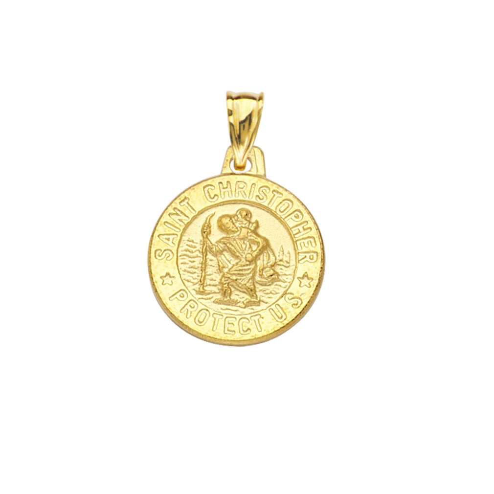 14k Yellow Gold Small Round St. Christopher Medal Pendant