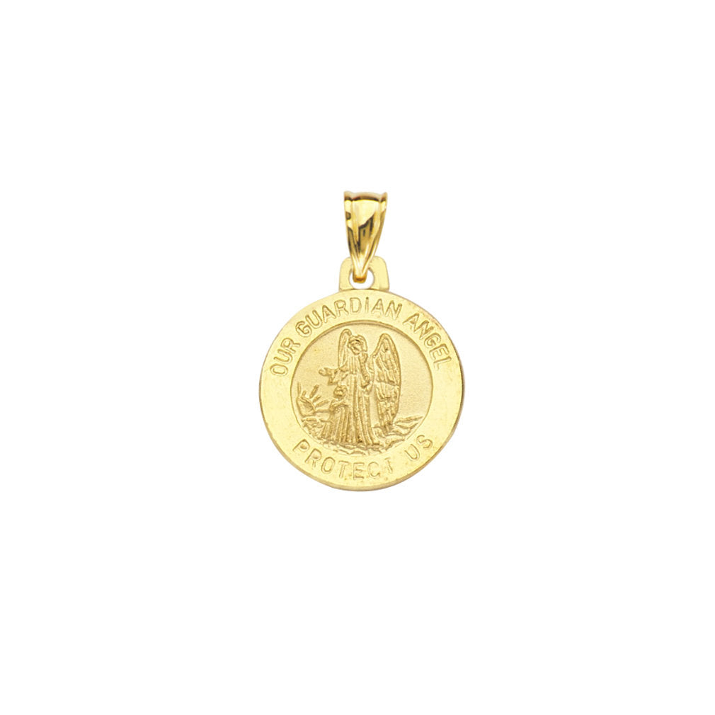 14k Yellow Gold Round Our Guardian Angel Protect Us Medal Pendant