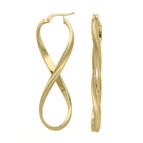 14k Yellow Gold Infinity Figure Eight Hoop Earrings Concave with Brushed Finish