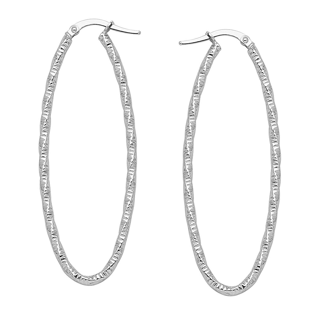 14k White Gold Euro Hoop Earrings with Striped Twist Design
