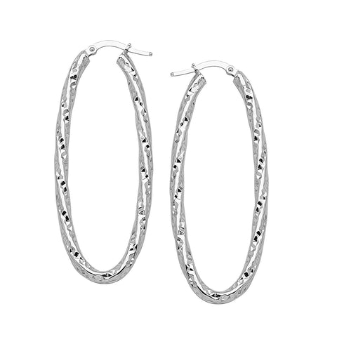 14k White Gold Euro Oval Hoop Earrings with Twist Design