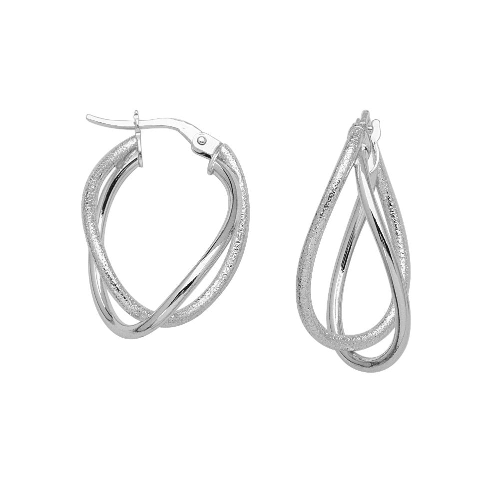 14k White Gold Intertwined Double-loop Hoop Earrings with Smooth Design