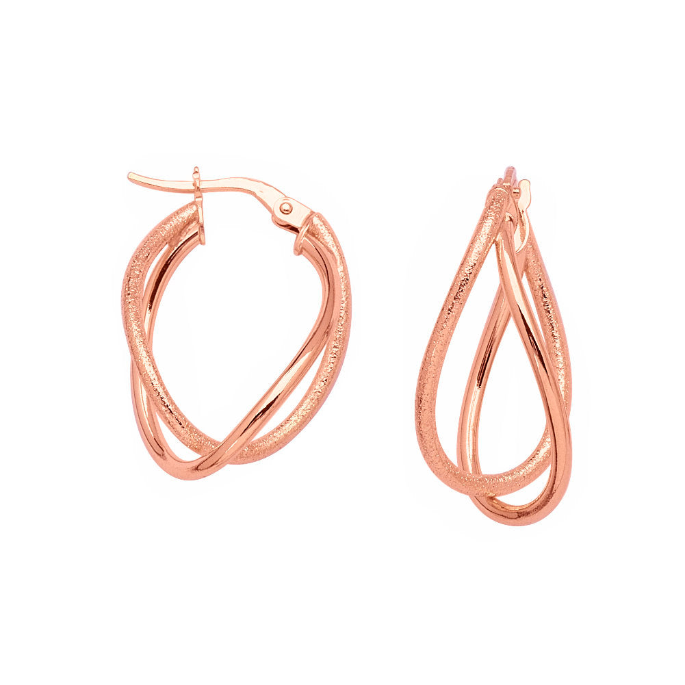 14k Rose Gold Intertwined Double-loop Hoop Earrings with Smooth Design