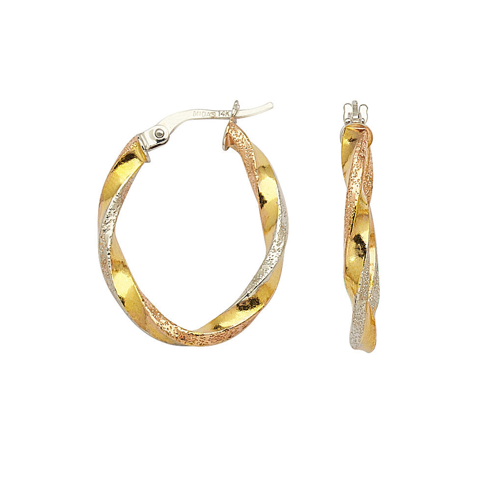 14k Gold Oval Hoop Earrings Three-tone White, Yellow, and Rose 25mm Ribbon Twist