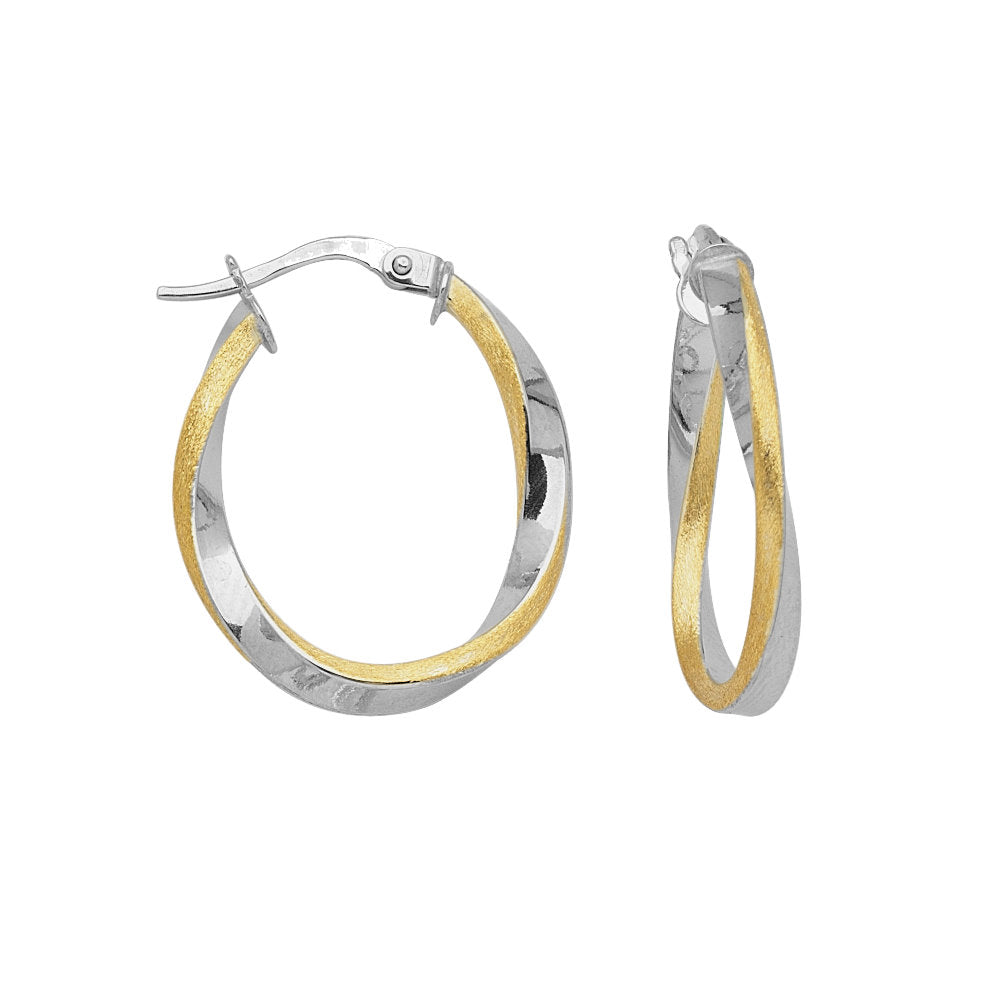 14k Two-tone Gold Twist Hoop Earrings Satin and High Polish Euro Style