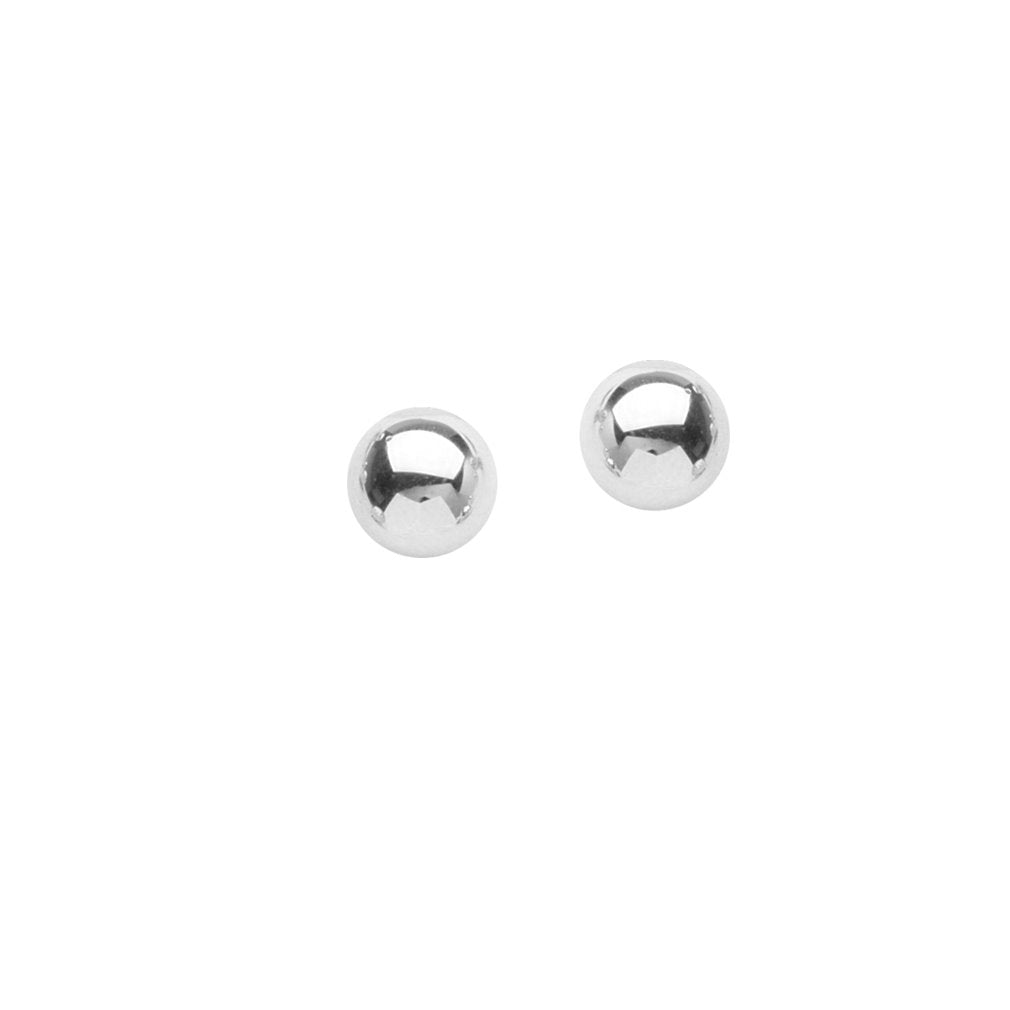 14k White Gold Bead Ball Stud Earrings Polished Finish 6mm