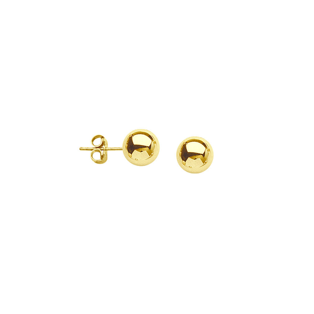14k Yellow Gold Bead Ball Stud Earrings Polished Finish 6mm