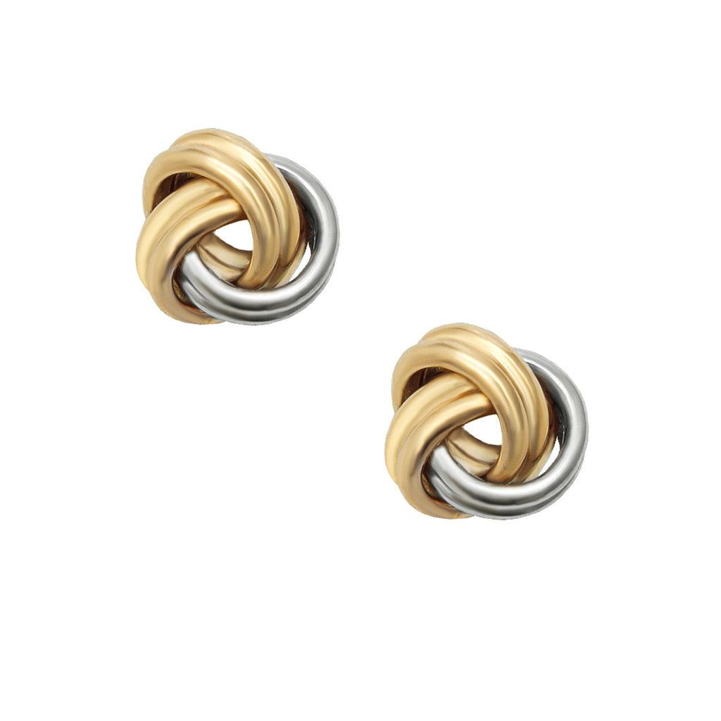 14k White and Yellow Two-tone Gold Love Knot Earrings