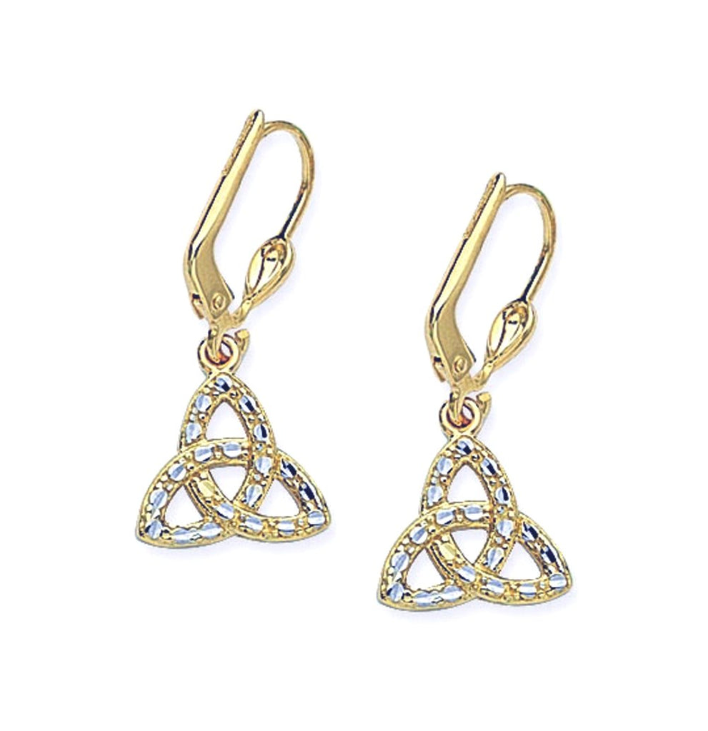 14k Two-tone White and Yellow Gold Celtic Knot Earrings