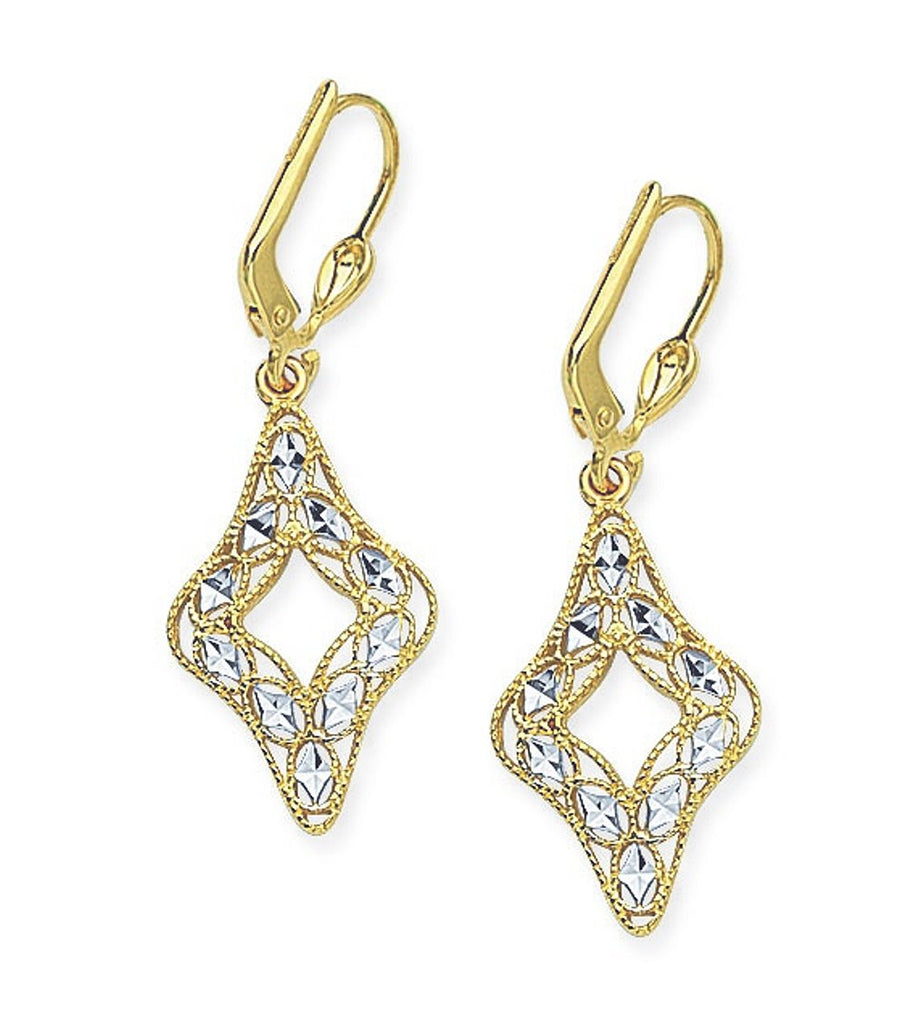 14k Two-tone Yellow and White Gold Filigree Earrings