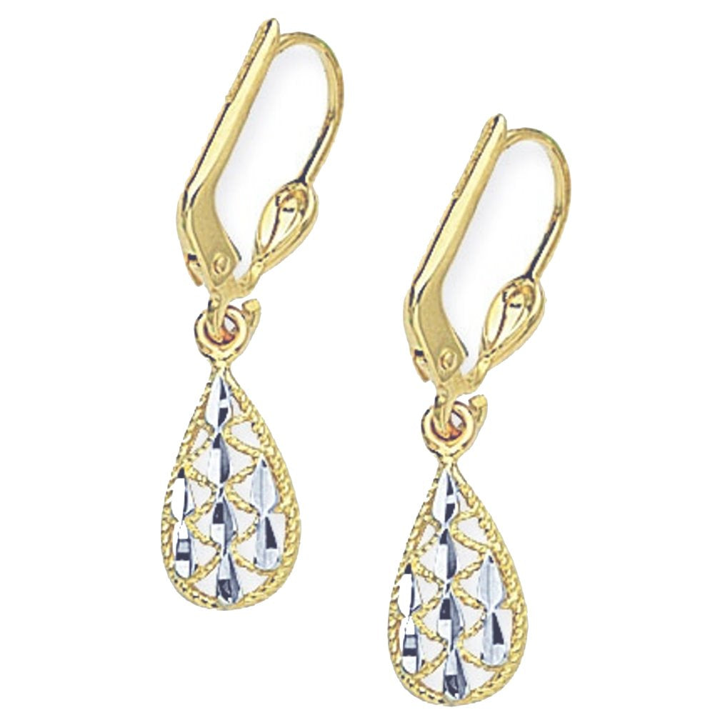 14k Two-tone White and Yellow Gold Tear Drop Filigree Lever Back Earrings