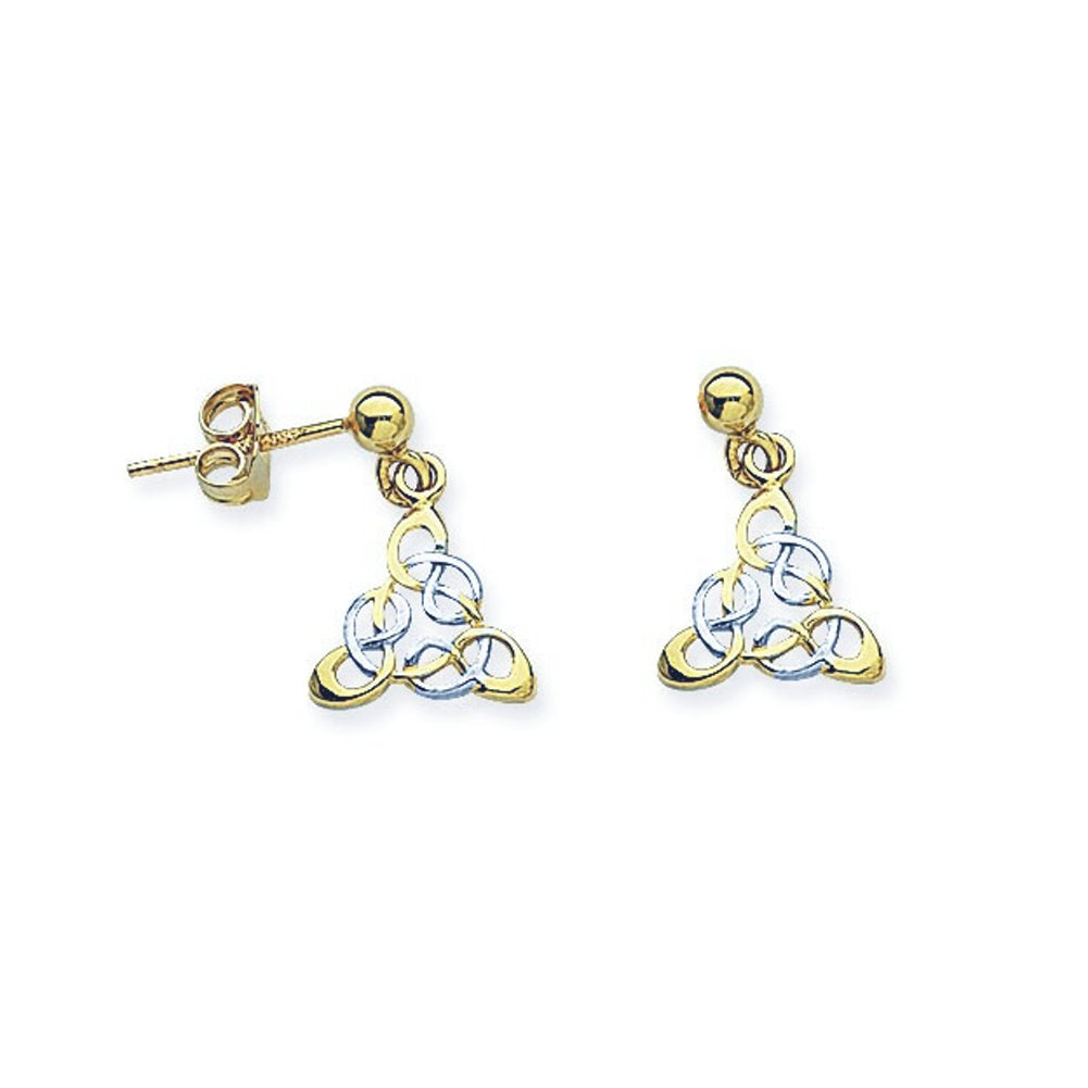 14k Two-tone White and Yellow Gold Celtic Angel Filigree Ball Post Earrings