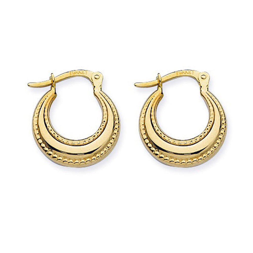 14k Polished Hoop Earrings with Graduated Width and Rope Design Edging