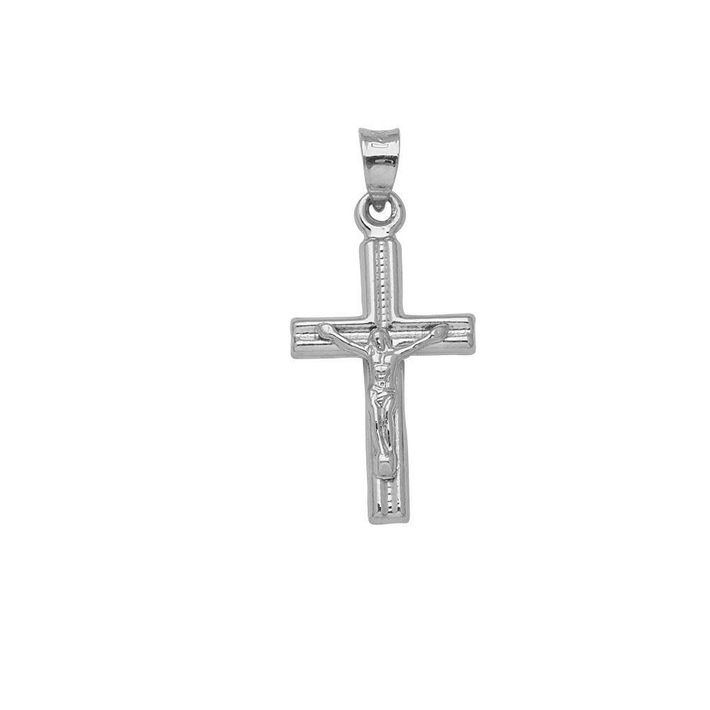 10k White Gold Crucifix Pendant Cross