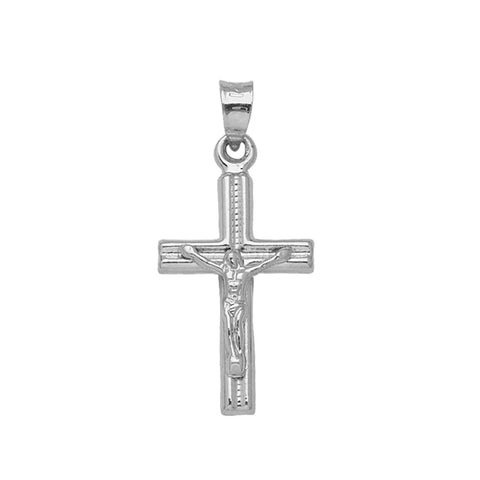 14k White Gold Crucifix Pendant Cross, Pendant Only