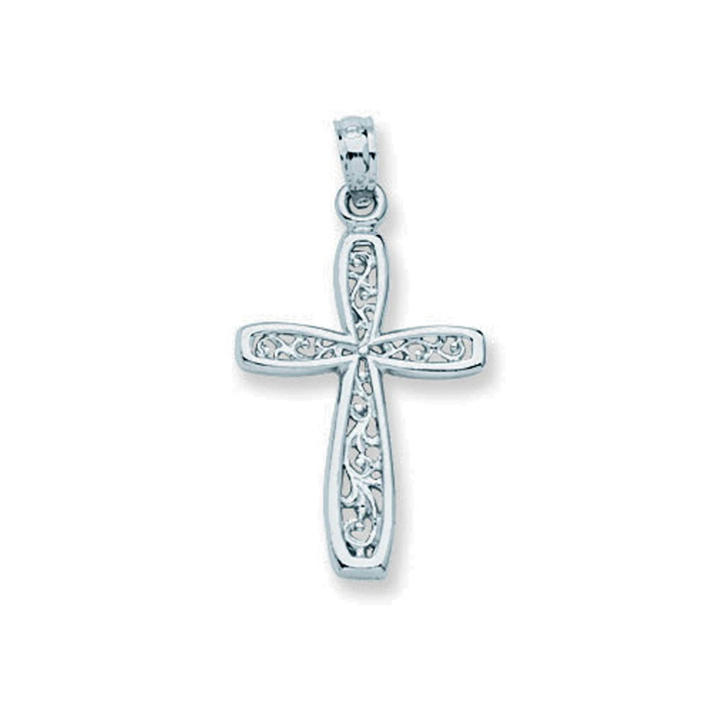14k White Gold Cross Pendant with Filigree Design