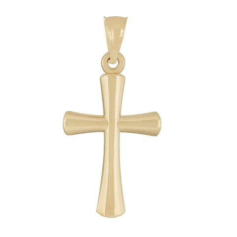 10k Yellow Gold Rounded Cross Pendant