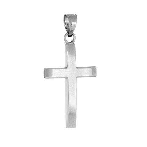 14k White Gold Cross Pendant Plain Straight Edge High Polish