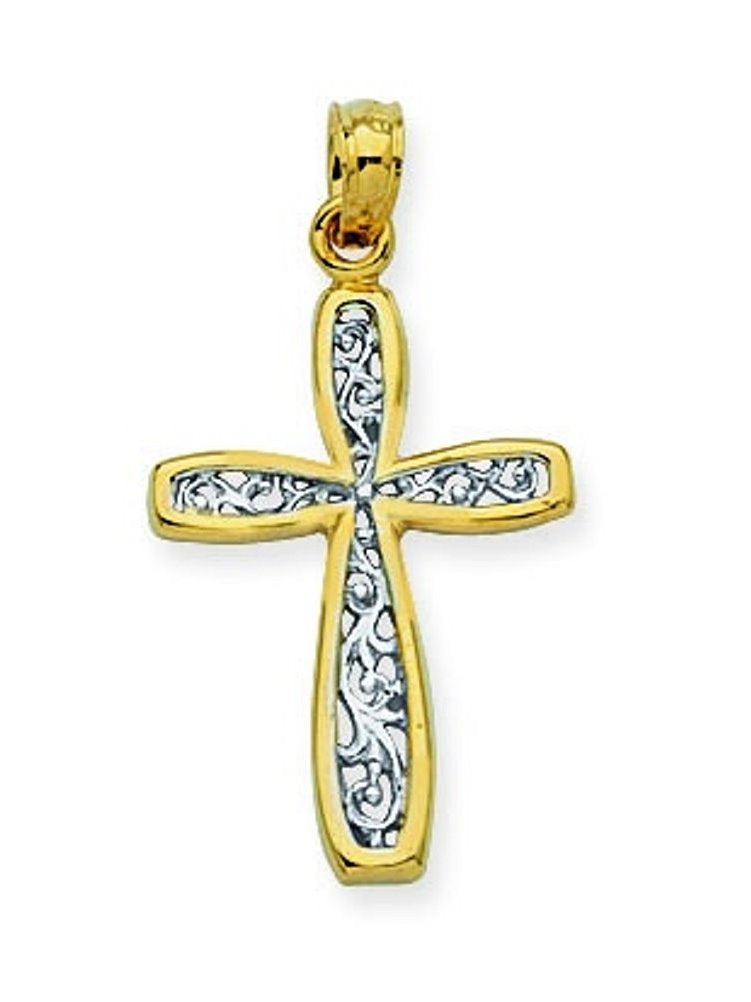 10k White and Yellow Two-tone Gold Cross Pendant with Filigree Design