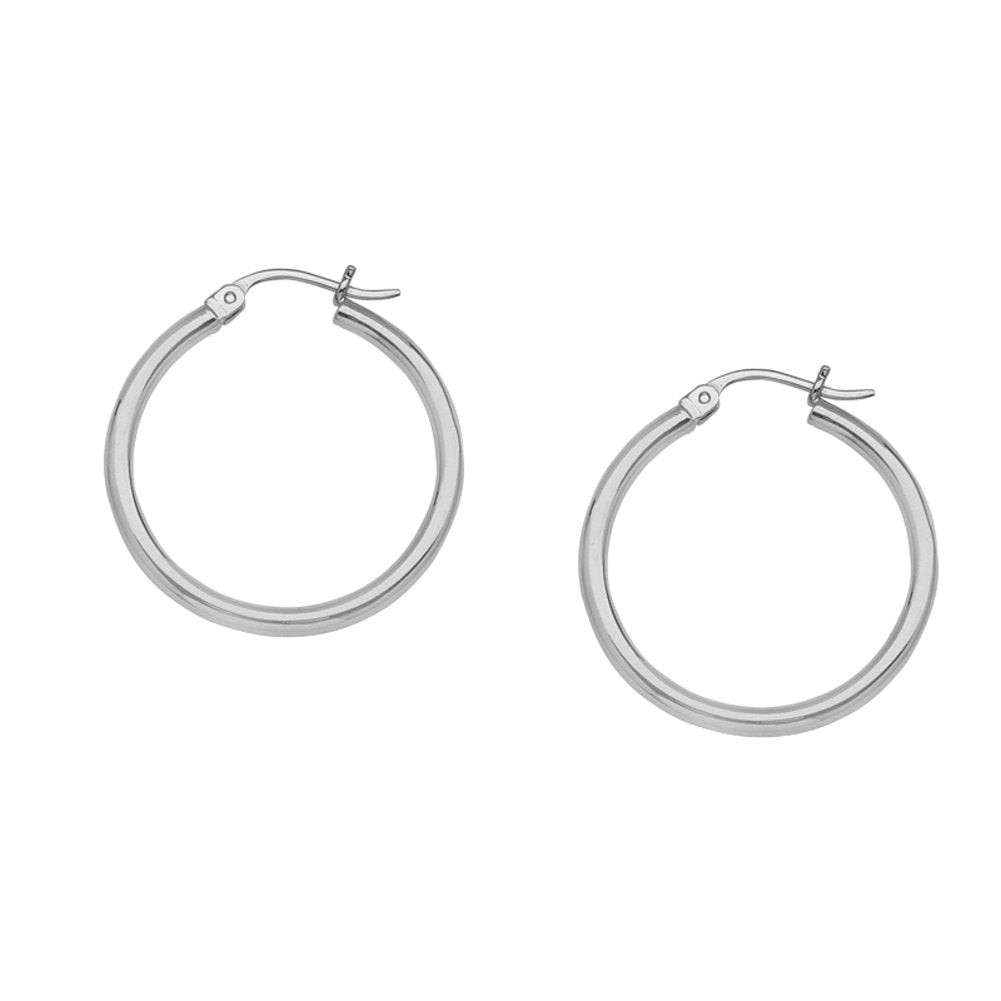 14K White Gold Polished Hoop Earrings 2x15mm Post with Click Close