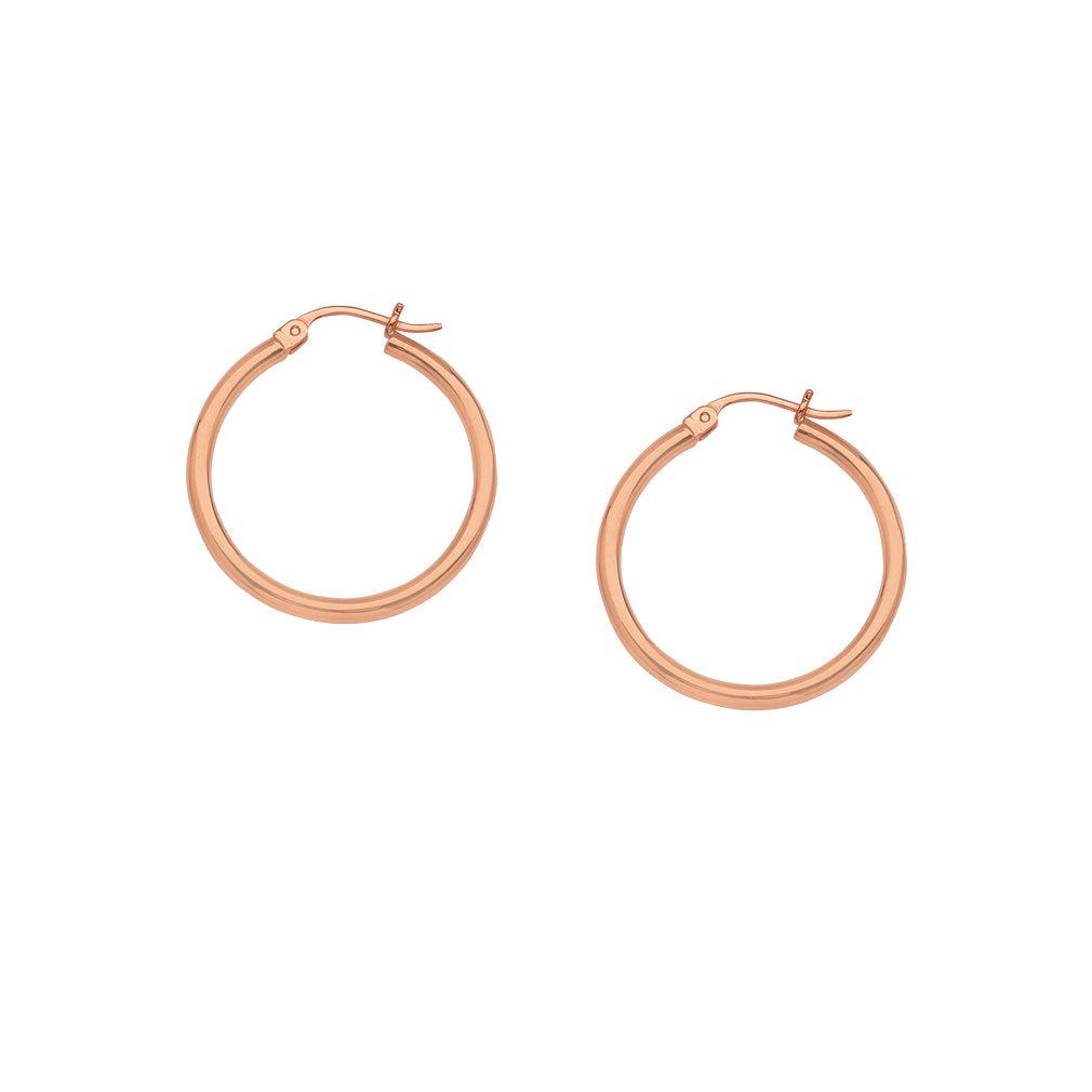 14K Rose Gold Polished Hoop Earrings 2x15mm Post with Click Close