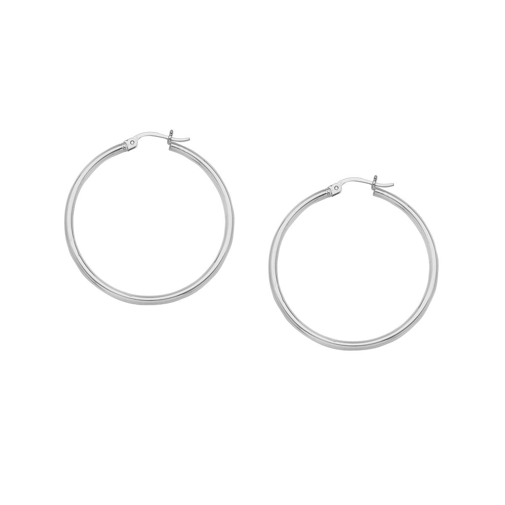 14K White Gold Polished Hoop Earrings 2x20mm Post with Click Close
