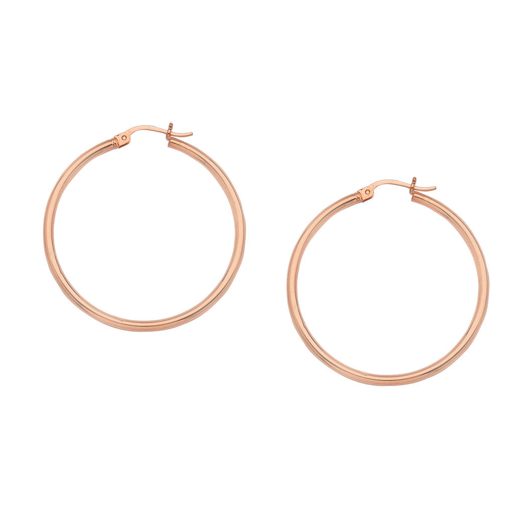 14K Rose Gold Polished Hoop Earrings 2x20mm Post with Click Close