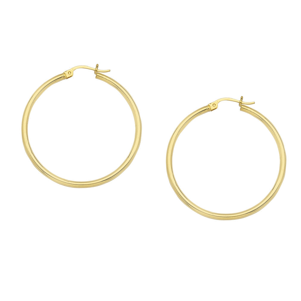 14K Yellow Gold Polished Hoop Earrings 2x20mm Post with Click Close