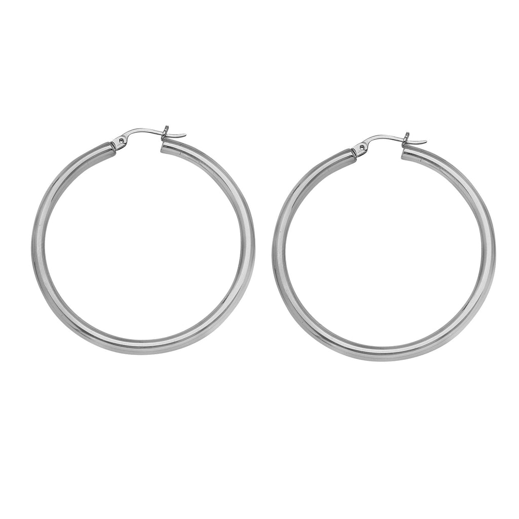 14K White Gold Polished Hoop Earrings 3x25mm Post with Click Close