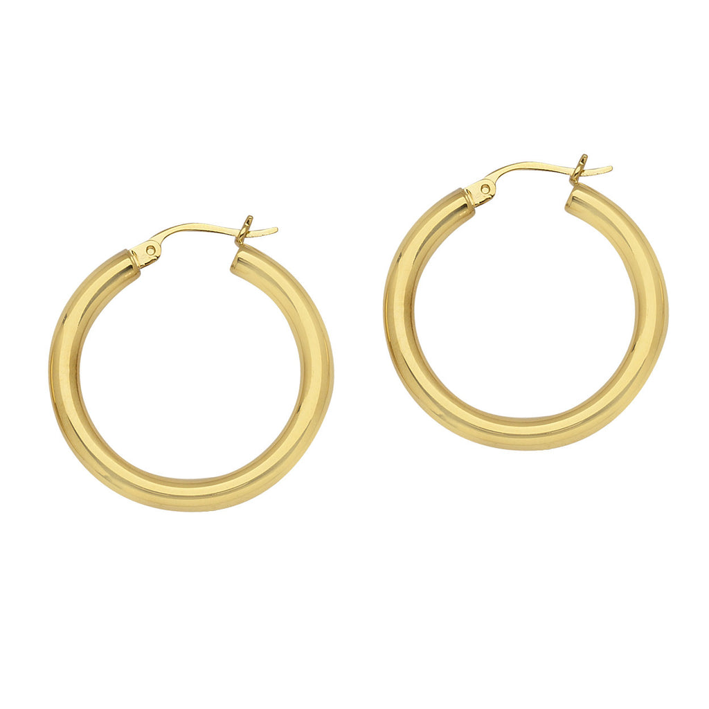 14K Gold Polished Hoop Earrings 3x20mm Post with Click Close