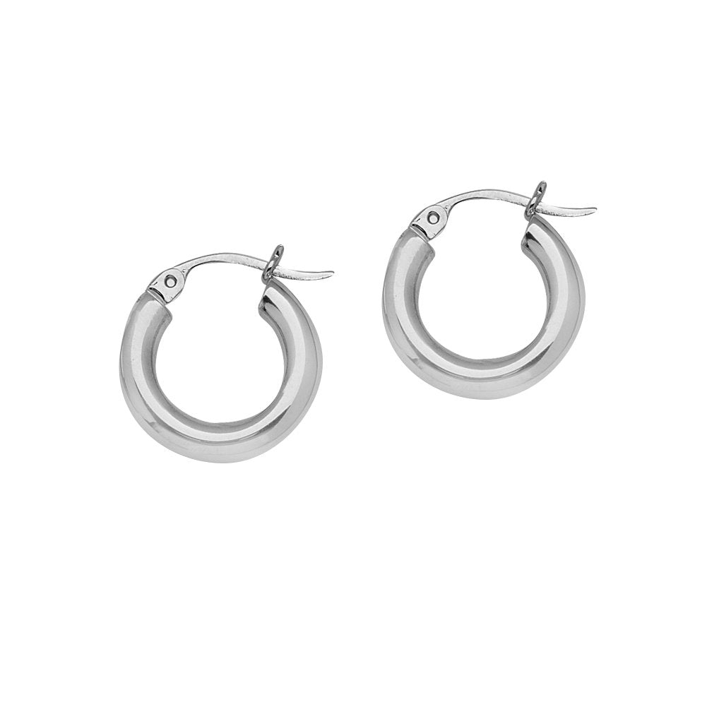14K White Gold Polished Hoop Earrings 3x15mm Post with Click Close