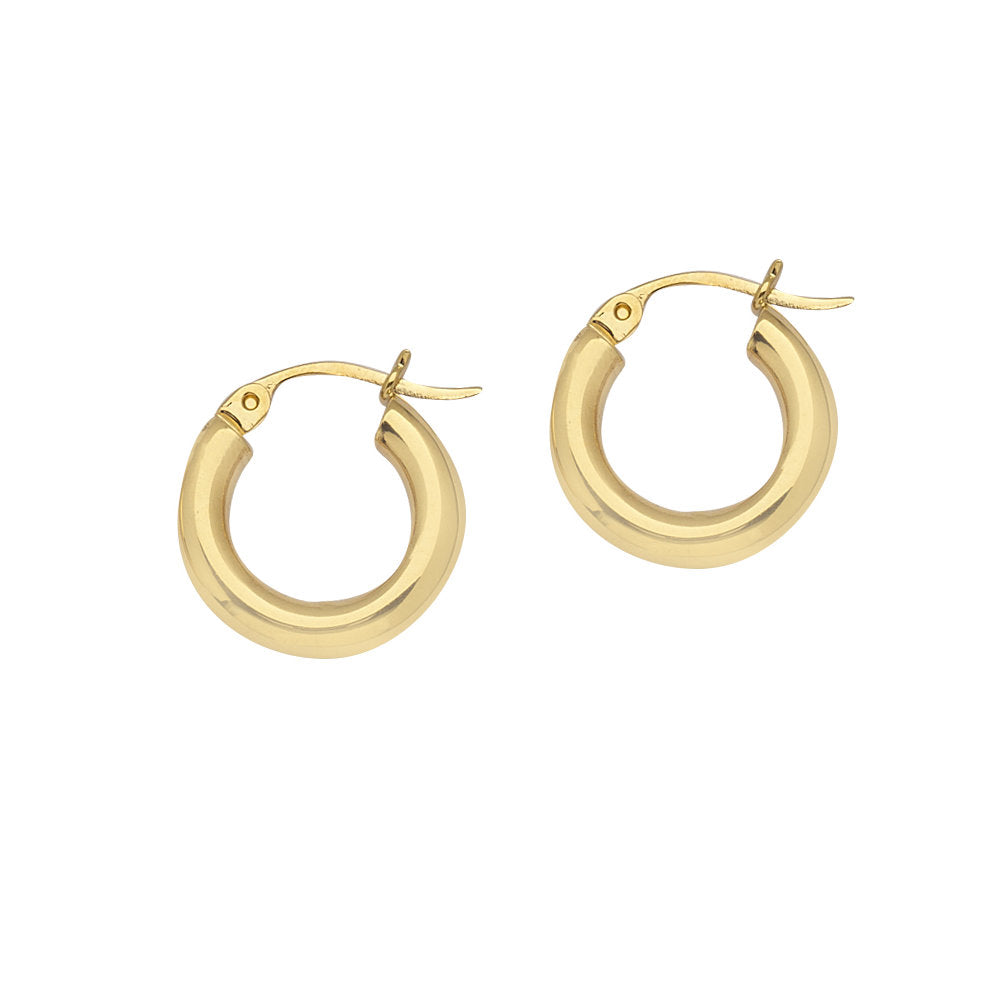 14K Yellow Gold Polished Hoop Earrings 3x15mm Post with Click Close