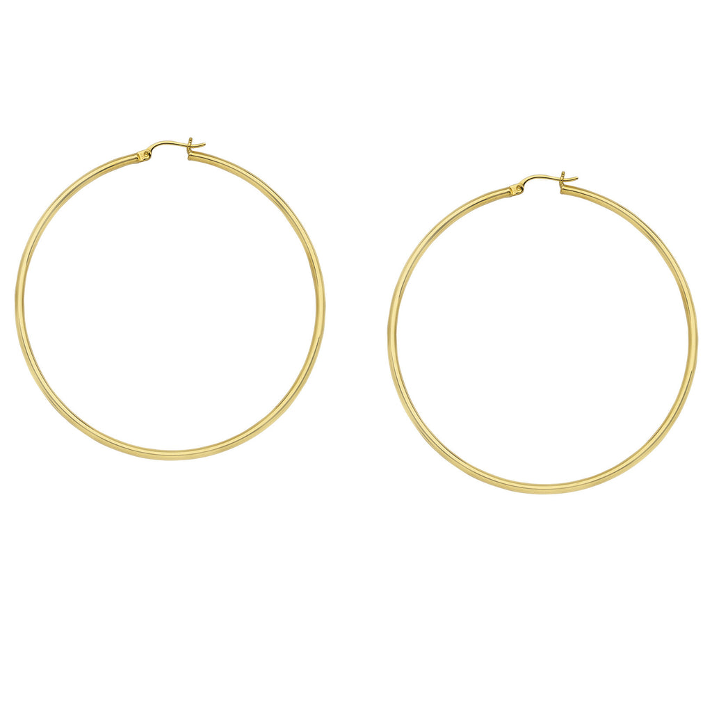 14K Yellow Gold Polished Hoop Earrings 2x40mm Post with Click Close