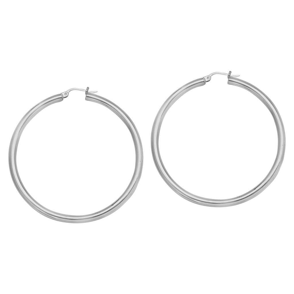 14K White Gold Polished Hoop Earrings 3x40mm Post with Click Close