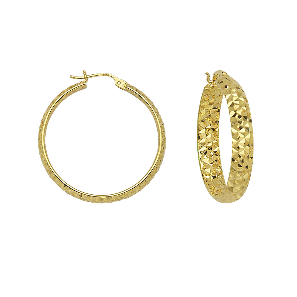 14k Yellow Gold 3mm Wide Half Round In Out Diamond-cut Hoop Earrings