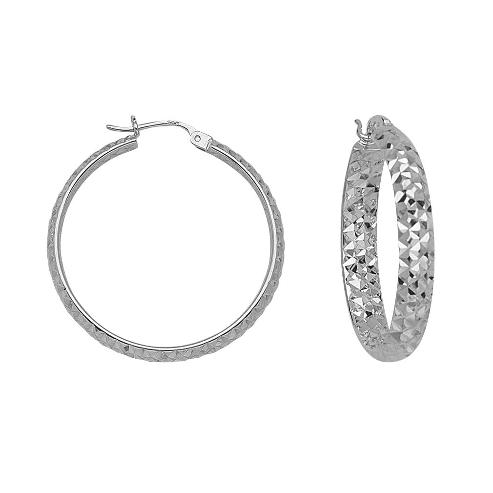 14k White Gold 3mmx20mm Half Round In Out Diamond-cut Hoop Earrings